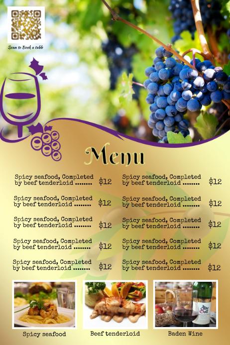 Golden restaurant flyer and menu poster - Professional template