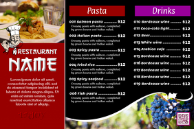 Restaurant flyer - Professional design - 3 rows menu with image