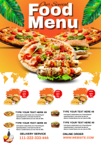 RESTAURANT FOOD BARBECUE BURGER PIZZA FLYER