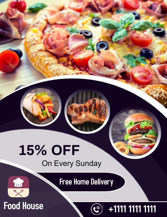 Restaurant Food Flyer Folder (US Letter) template