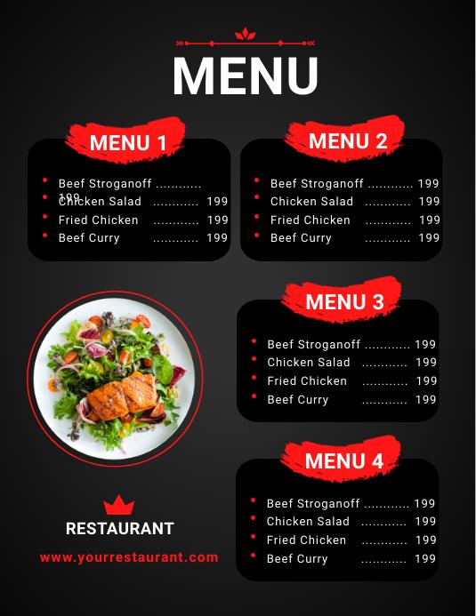 Restaurant Food Menu Template Flyer (US-Letter)