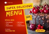 Restaurant Food Social Media Post Template Postcard