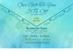 Restaurant Gift Voucher Coupon Открытка template