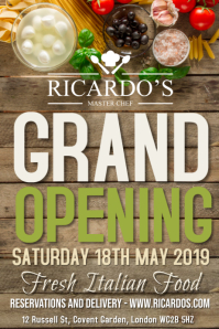 Restaurant Grand Opening Flyer Poster Template