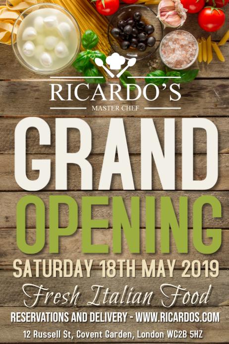 restaurant grand opening flyer poster template