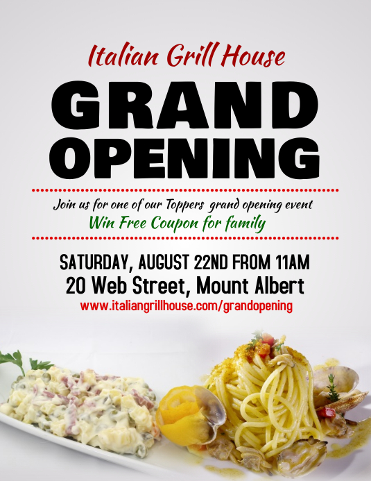 Restaurant Grand Opening Flyer Template