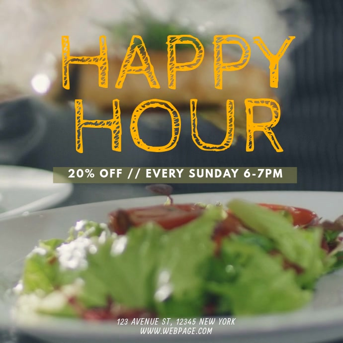 Restaurant Happy Hour Video Promotion Template Instagram