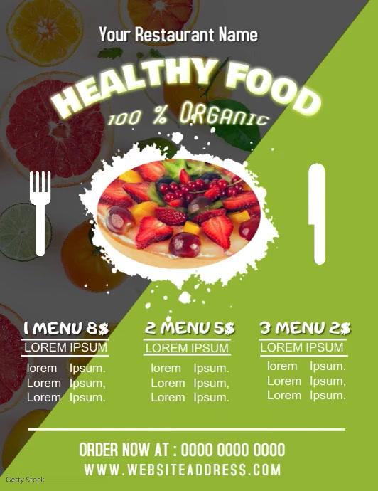 Restaurant Healthy Food Menu Flyer Poster Ani template