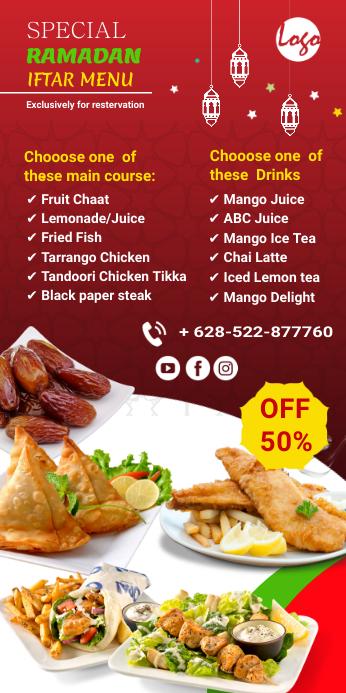 Restaurant Iftar menu Roll Up Banner 3' × 6' template