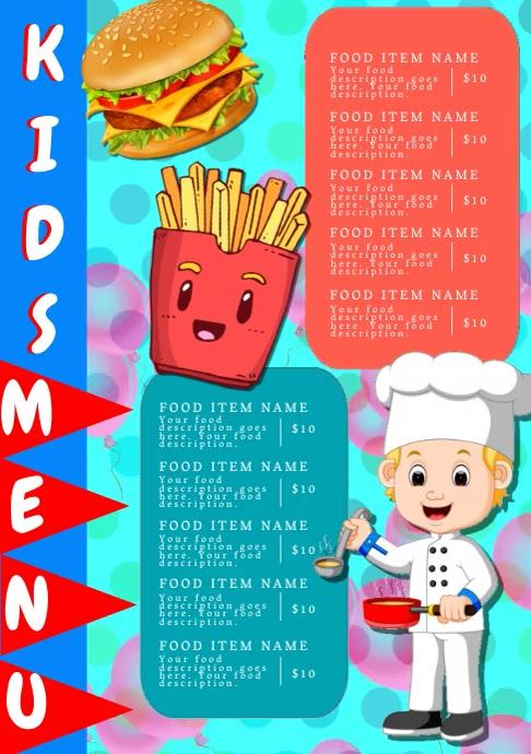 Restaurant Kids food Menu Template