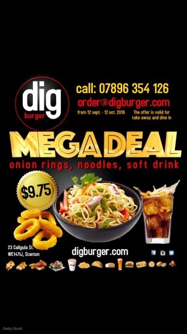 Restaurant Megadeal Video Advert Digitale Vertoning (9:16) template