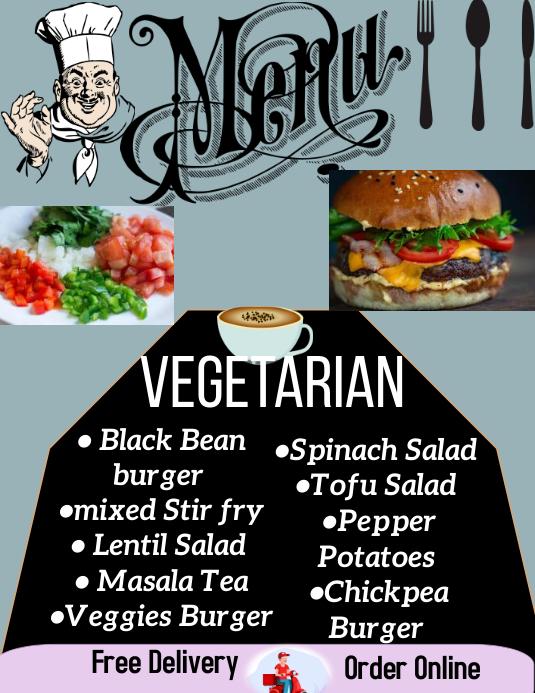 Restaurant menu, menu card Pamflet (Letter AS) template