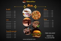 restaurant menu board flyer 海报 template