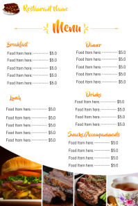 restaurant menu board flyer Poster template