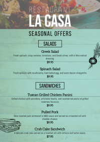 Restaurant menu card seasonal lunch offers