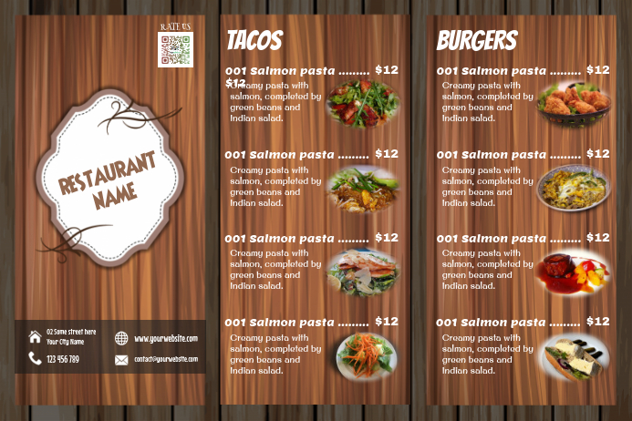 Restaurant Menu Design Wooden Template Postermywall