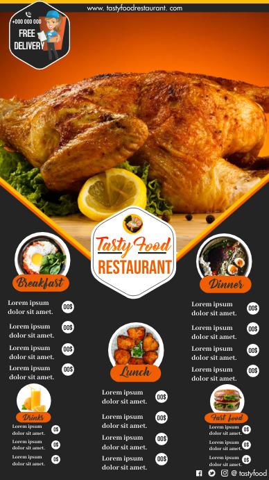 Restaurant Menu Digital Display (9:16) template