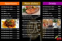 Black restaurant menu flyer (3 rows with 3 big images)