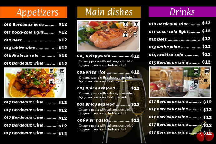black restaurant menu flyer 3 rows with 3 big images template