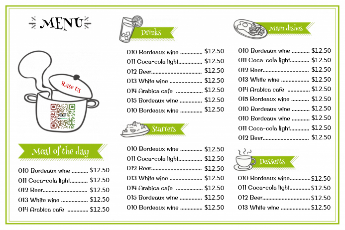 simple restaurant menu flyer white template postermywall