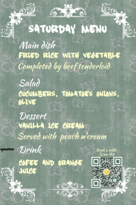 Restaurant Menu Flyer with table booking table QR code Poster template