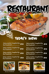 Restaurant menu flyer with a beautiful big image
