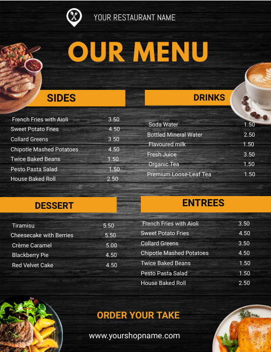 Restaurant Menu flyers Løbeseddel (US Letter) template