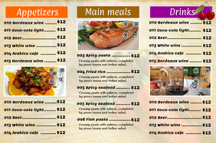Restaurant menu landscape