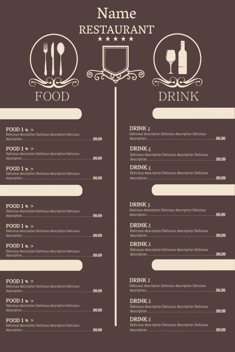 Restaurant menu one page template postermywall