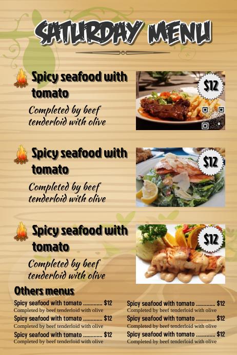 Restaurant menu - Wood