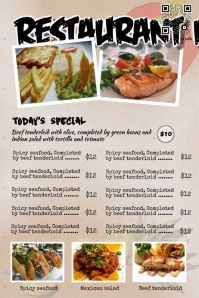 Restaurant menu poster and menu flyer - PosterMywall - Design style: Indian food