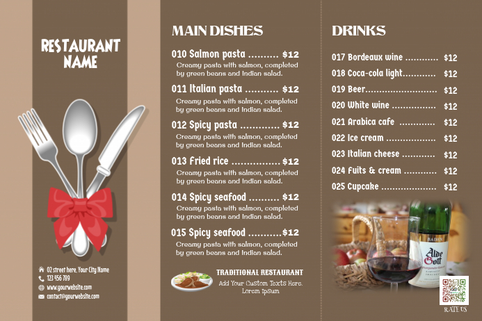 Brown restaurant menu - Matte (Tri-fold)
