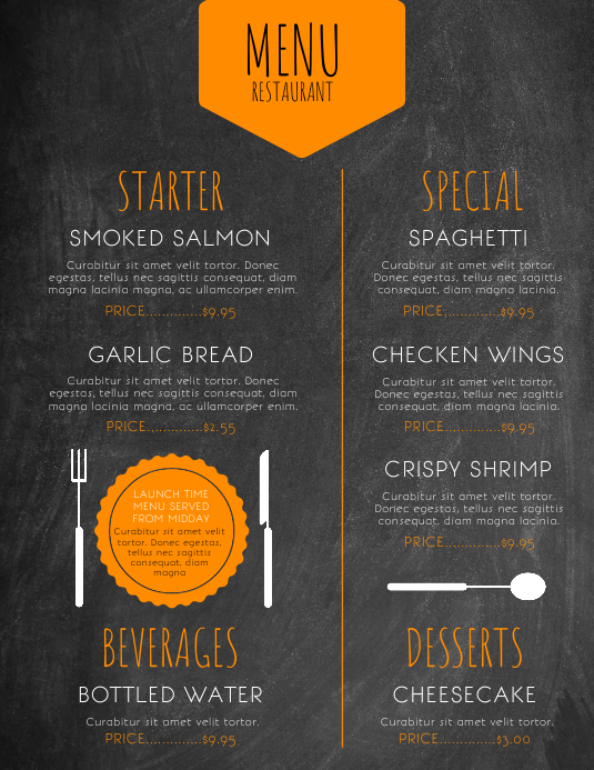 Restaurant Menu Flyer Volantino (US Letter) template