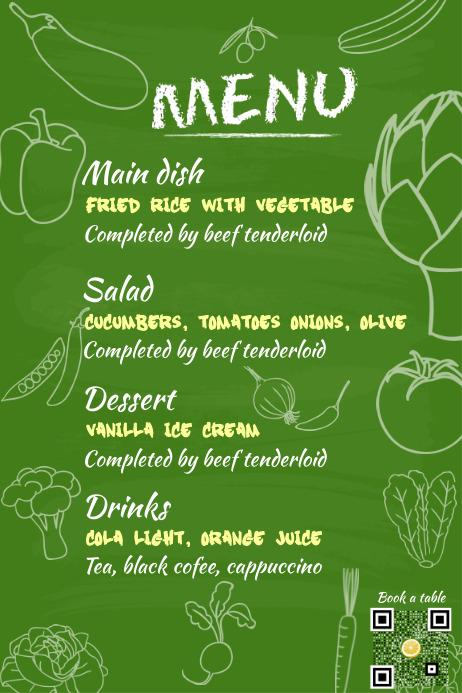 Restaurant menu poster - Theme: fresh food & vegetable - Green chalkboard background