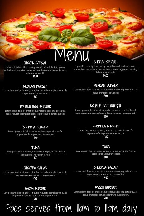 copy of restaurant bar menu template
