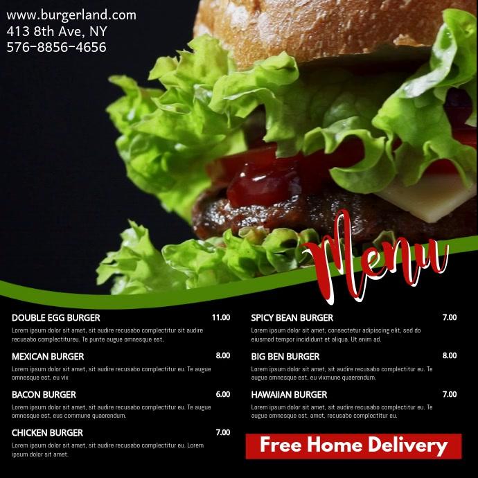 Restaurant Menu Social Media Digital Promo