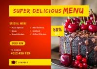 Restaurant Menu Social Media Post Template Postcard