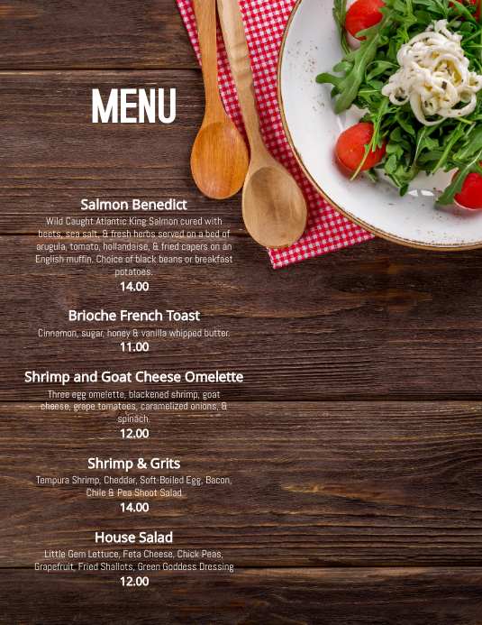 Restaurant Menu Specials Flyer