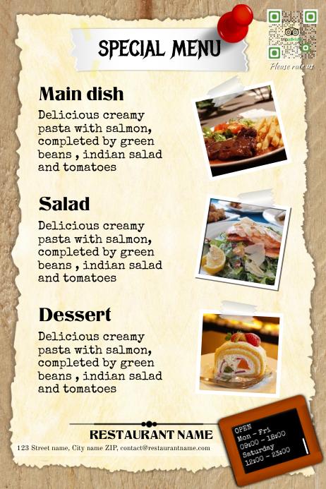 Restaurant menu template - Vintage design