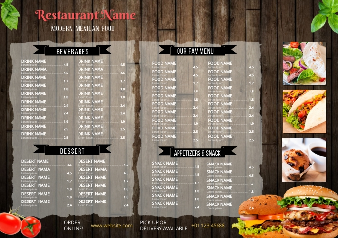 Restaurant Menu Template A3