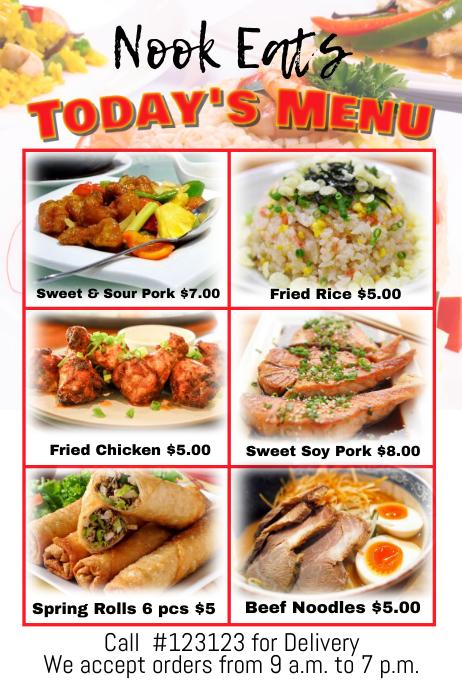 restaurant menu template Плакат