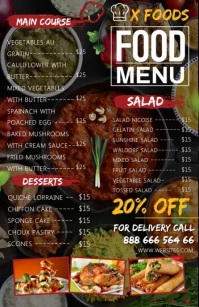 Restaurant Menu video Tabloid template