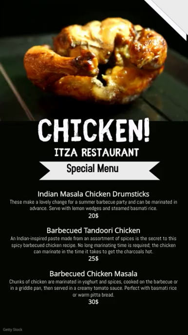 restaurant menu/video flyer Ecrã digital (9:16) template