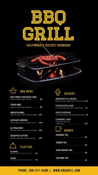 Restaurant menu with black background Digitale display (9:16) template