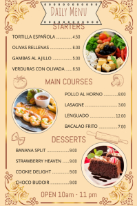 Restaurant Menu With Pictures Template