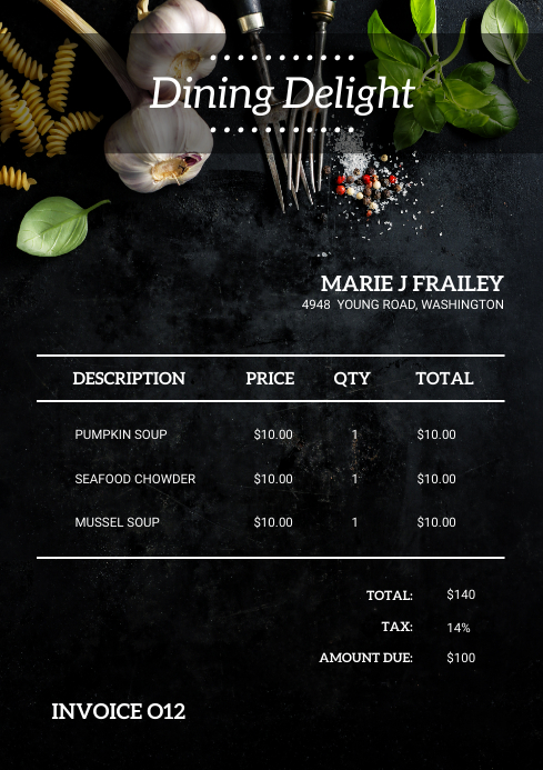 Restaurant Modern Invoice Template