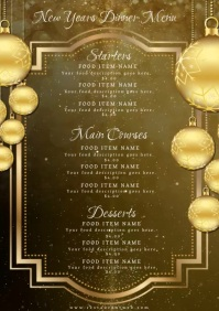 Restaurant New Years Dinner Menu Template