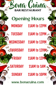 Restaurant Open Hours Poster Template
