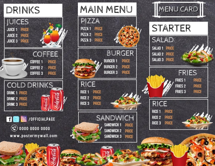 restaurant patio hotel menu card brochure fly Flyer (US Letter) template