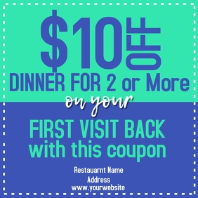 Restaurant Promo Coupon Instagram Post template